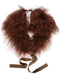 P.A.R.O.S.H. Quizz Fur Shawl - Brown