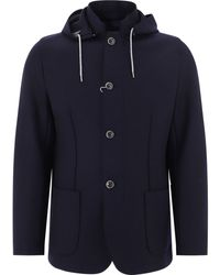 Herno Hooded Buttoned Coat - Blue