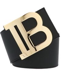Balmain Monogram Buckle Belt - Black