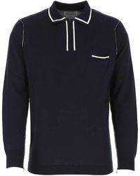 Maison Margiela Dark Blue Cotton Polo Shirt Nd Uomo