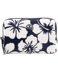 Tory Burch Perry Printed Small Cosmetic Case - Blue