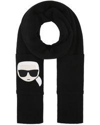 Karl Lagerfeld K/ikonik Embroidered Scarf - Black