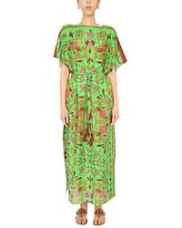 Tory Burch Caftan With Floral Pattern - Green