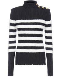 Balmain Striped Knitted Jumper - Multicolour