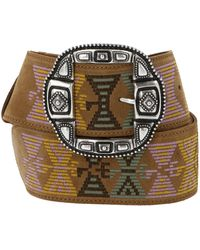 Etro Geometric Embroidered Belt - Brown