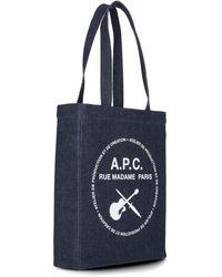 A.P.C. Logo Printed Denim Tote Bag - Blue