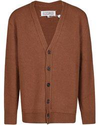 Maison Margiela Four-stitches V-neck Cardigan - Brown