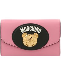 Moschino Teddy Plaque Chained Pouch Bag - Pink