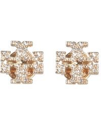 Tory Burch Crystal Logo Earrings - Multicolor