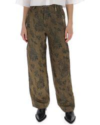 Uma Wang Floral Print Wide-leg Trousers - Brown