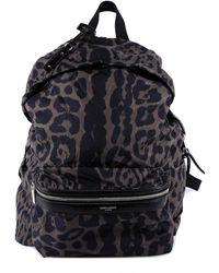 Saint Laurent Leopard Print Foldable City Backpack - Black