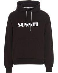 Sunnei Logo Print Drawstring Hoodie - Brown