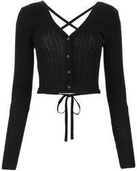Miu Miu Lace-up Cropped Cardigan - Black