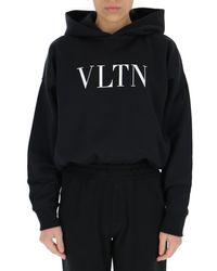 Valentino Logo Print Hoddie - Black