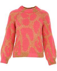 Stella McCartney Leopard Intarsia Knit Sweater - Pink