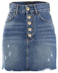 Pinko Minimad Denim Mini Skirt - Blue