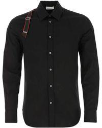 Alexander McQueen Black Stretch Poplin Shirt Nd Uomo