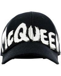 Alexander McQueen Graffiti Logo Baseball Cap - Black