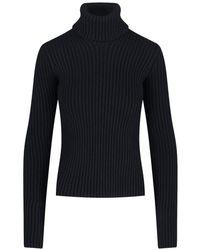 Bottega Veneta Rib Knit Turtleneck Jumper - Black