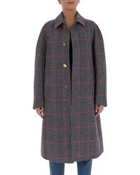 Thom Browne Check Pattern Coat - Grey