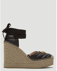 Gucci Leather Espadrille Platform Shoes In Black