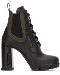 Prada Lace-up Chelsea Boots - Black
