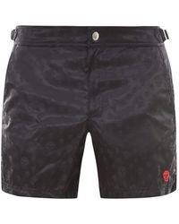 Alexander McQueen Allover Skull Print Swim Shorts - Black