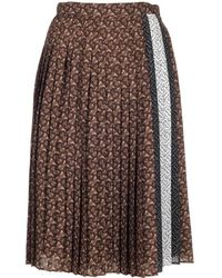 Burberry Tb Monogram Pleated Skirt - Brown