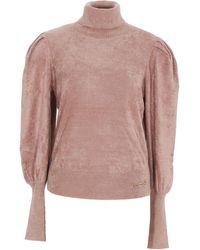 Elisabetta Franchi Puff Sleeve Turtleneck Jumper - Pink