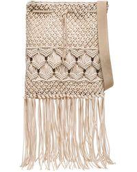 Alberta Ferretti Handbag In Woven Fabric With Beads Detail - Natural