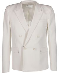Saint Laurent Double-breasted Tailored Blazer - White