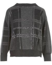 Brunello Cucinelli Ribbed Knit Jumper - Grey