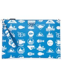 Prada Printed Textured-leather Pouch - Blue