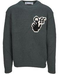 Off-White c/o Virgil Abloh Logo Intarsia Knit Jumper - Green