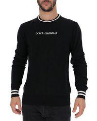 Dolce & Gabbana Logo Embroidered Sweater - Black