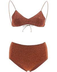 Oséree Lurex High-rise Bikini - Brown