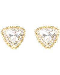 Alessandra Rich Crystal Triangle Clip On Earrings - Metallic