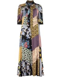 Prada Floral Patchwork Printed Bow-detailed Dress - Multicolor