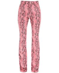 Alessandra Rich Python Flare Trousers - Pink
