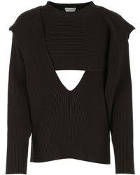 Bottega Veneta Cut-out Detail Ribbed Sweater - Brown
