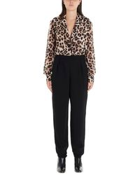 Boutique Moschino Leopard Printed Jumpsuit - Black