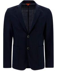 Barena Pocket Detail Single Breasted Blazer - Blue