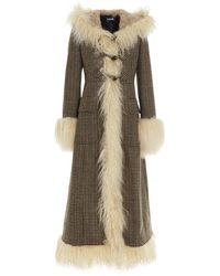 Miu Miu Fur Trim Houndstooth Coat - Multicolor