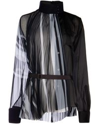 Sacai Pleated Belted Blouse - Black
