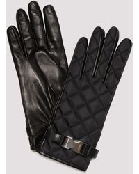 Prada Buckle Detail Quilted Gloves - Black