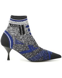 Prada Black And Blue 65 Jacquard Knit Booties