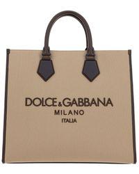 Dolce & Gabbana Embroidered Logo Tote Bag - Natural