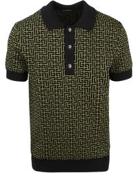 Balmain Monogram Polo Shirt - Green