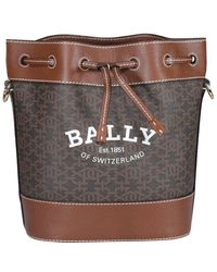Bally Logo Print Bucket Bag - Brown