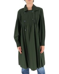 Pleats Please Issey Miyake Pleated Trench Coat - Green